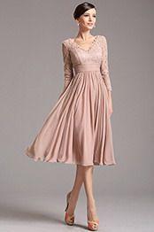 Vestido Formal Vintage a la Tibia Rosa con Mangas(26160146)