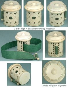 Antique Carved Ivory Tape Measure w/ Pierced Hearts * C1820