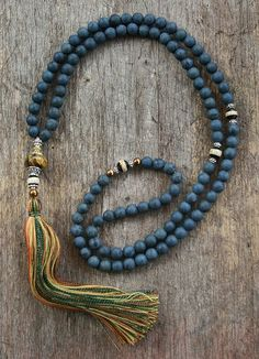 Beautiful frosted blue stone mala necklace by look4treasures