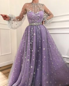 Charming purple prom dress,tulle with star evening dress,long a-line party dress from SofieDress Prom Dresses, A-Line Evening Dress, Purple Evening Dress Prom Dresses 2019 Fancy Prom Dresses, Prom Dresses Long With Sleeves, A Line Prom Dresses, Tulle Prom Dress, Pretty Dresses, Beautiful Dresses, Dress Long, Long Dresses, Long Sleeve Formal Dress
