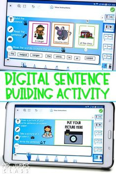 The best digital sentence building activity for kindergarten! Students will love building and reading these fun sentences. This activity makes a great literacy center!