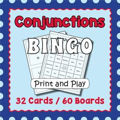 Your students will enjoy playing this bingo game featuring common conjunctions.  It makes an engaging introduction to the subject for a grammar lesson and a welcome fun break in the classroom.  Included are 32 calling cards and 60 unique bingo game boards (30 color and 30 black and white).