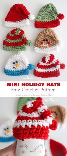 Holiday Crochet Patterns, Free Crochet Doily Patterns, Crochet Snowman, Crochet Christmas Decorations, Crochet Christmas Ornaments, Christmas Knitting, Christmas Patterns, Hat Patterns, Christmas Items