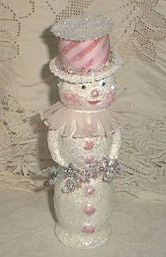 Twinkled Pink | An original paper mache snowman, I used the … | Flickr Pink Christmas, Christmas Snowman, All Things Christmas, Christmas Holidays, Christmas Ideas, Shabby Chic Christmas, Victorian Christmas, Victorian Crafts, Vintage Christmas