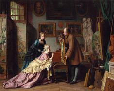 A Visit to the Studio 1889 ~ Jean Carolus ~ (Belgian :  1814 - 1897)