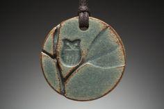 Owl in Tree ceramic pendant (round)