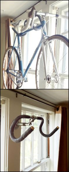 Good wall-mounted bike storage racks usually cost around $30 to $50. Save your money and instead make your own. This DIY handlebar bike rack is so easy to do and costs next to nothing!  Simply look for an old handle bar with a quill stem, a threaded pipe and flange, and voila - you have a really cheap and unique bike rack!  Is this going to be your next weekend project? Follow the simple step by step instructions on our site.