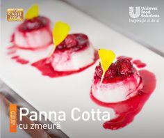 PANNA COTTA CU ZMEURA Panna Cotta, Ethnic Recipes, Food, Dulce De Leche, Eten, Meals, Diet
