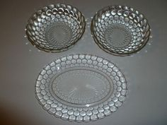 Hocking Bubble Glass   Tray and Fruit Vegetable Round Bowls Set of 3