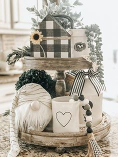 Tiered tray full of gray & white decor for your farmhouse. Tiered tray full of gray & white decor for your farmhouse. Table Farmhouse, Farmhouse Decor, Valentine Decorations, Christmas Decorations, Table Decorations, Kitchen Decorations, Seasonal Decor, Fall Decor, Holiday Decor