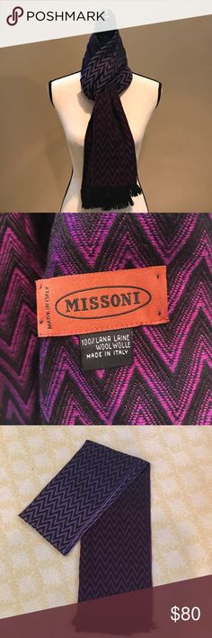 "Missoni Chevron Scarf Missoni Purple 100% Wool Chevron Scarf. 70"" x 15"". Can be worn by female and male. Perfect Condition. Worn a few times. Missoni Accessories Scarves & Wraps"