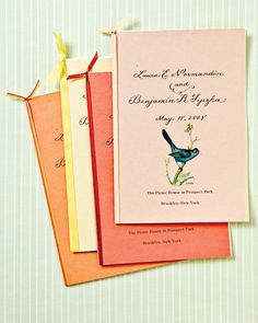 For an outdoor wedding, embellish ceremony programs with butterfly and bird cutouts