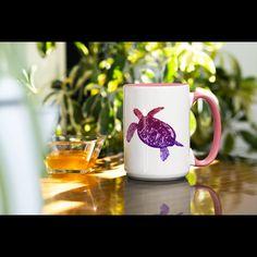 Unique purple sea turtle design. Morning Coffee, White Ceramics, Turtle, Sea, Mugs, Unique, Tableware, Pink, Etsy