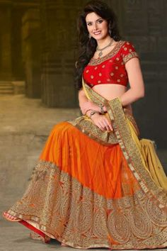 Designer Embroidered Wedding Lehenga Choli; Rose-madder Red and Pumpkin Orange Net and Faux Georgette Embroidered Wedding and Bridal Lehenga Choli