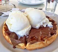 Nutella ice cream waffles! Mmm