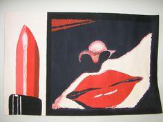 Maleri, akrylmaling, læbestift, libstick