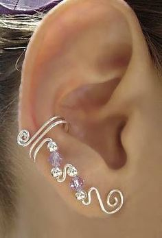 Ear wrap. A very pretty solution for the daughter who is afraid of the pain of ear piercing. #wirejewelry