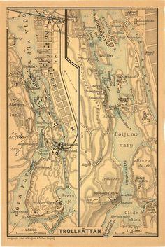 Trollhattan Sweden 1898 City Map Street Plan