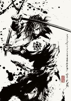 宮本武蔵 - Minamoto Musashi - black and white sketch samurai ninja ninja samurai viking spartan warrior Ninja Kunst, Image Japon, Samurai Artwork, Samurai Drawing, Ninja Art, Japanese Warrior, Black And White Sketches, Samurai Warrior, Spartan Warrior