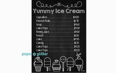 Ice Cream Social Party Chalkboard Art Poster Paper printable pdf by paperglitter $4