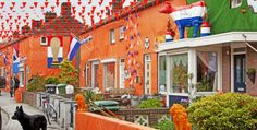 "This is ""oranjegekte"" = Orange craze.  When the Dutch are supporting their national soccer (voetbal) team or celebrating Koninginnedag (Queen's Day) on 30 April, this is something you should expect to see (they wear the orange too)...  http://en.wikipedia.org/wiki/Oranjegekte"