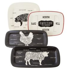 threshold serving platters - pinned these from someone else who since deleted it because there was differing opinions, (like that's illegal on Pinterest) - I think these are great, it's honest admission of where our meat comes from. You eat animals- deal with it or go veg*n.