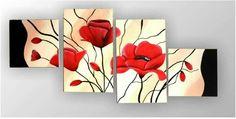 Multi Canvas Painting, Canvas Art, Flower Canvas, Flower Art, Diy Wall Art, Wall Art Decor, Dinning Room Art, Halloween Canvas, Glass Painting Designs