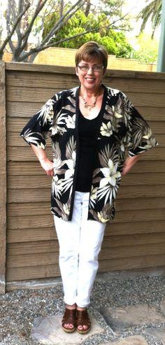 men's too-large Hawaiian shirt --> women's kimono-type jacket (remove the collar & button placket, then use a bias trim around the edges.)