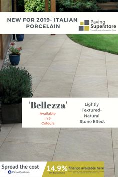 Bellezza is one of our new ranges of Italian Porcelains. With its lightly textured and ripple design it has a Natural Stone effect making a perfect compliment to you're garden. Ranges, New Product, Natural Stones, Compliments, Garden Design, Garden Ideas, Latest Trends, Colours, Nature