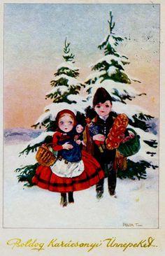 Vintage Hungarian Christmas Card