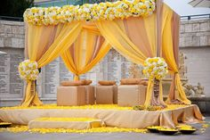 Inspiring Photo of the Day: Yellow Wedding Mandap | Calligraphy by Jennifer
