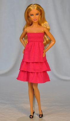 Fashion Re-purposing Experiments // click the photo for more information Barbie Dress, Barbie Clothes, Barbie Style, Barbie Patterns, Barbie Friends, Cut Shirts, Black Ribbon, Bright Pink, Knit Dress