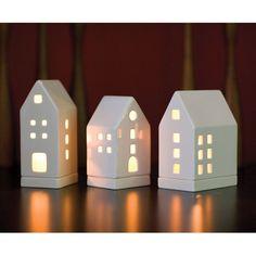 Porcelain tealight houses