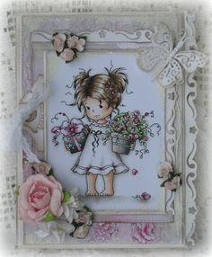 Skin/Haut: E0000-E000-E11-E21-R20  Hair/Haare: W00-E40-E42-E43-E44-E47  Flowers/pink/Blumen und pink: V0000-R81-R85-R59  Dress/Kleid:W00-W1-W3 and a little W5 for the darkest parts  Flowerpot and present/Blumentopf und Geschenk:W00-W1-W3-W4-W6-W8  Small blue details/kleine blaue Details: BG0000-B00-B91  Green/Grün: G20-G82-G85-G94-YG61-YG63  Around the image/rund um das Motiv: W00-W1-BG000-C3 and Colorless blender