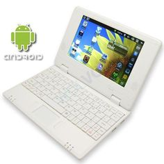 "WHITE 7"" Mini Netbook Laptop Notebook Netbook WIFI Internet Android 2.2, 3 USB Ports 4gb HD 256mb Ram (INCLUDES: Velvet Pouch Case, Charger, Mini Optical Mouse)Price: $99.94"