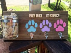 Excited to share the latest addition to my shop: Dog leash rack mason jar treat holder plaque decor rustic Dog Crafts, Animal Crafts, Wooden Crafts, Mason Jar Crafts, Mason Jars, Animal Projects, Diy Projects, Dog Leash Holder, Dog Treat Jar