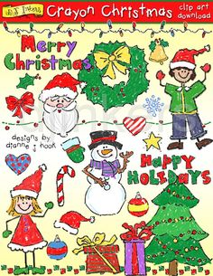 Crayon Christmas clip art, holiday clip art, christmas kids