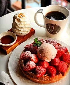 Strawberry Waffles & Coffee set at 19 st. Neal's Yard Cafe in Itaewon region of Seoul, South Korea