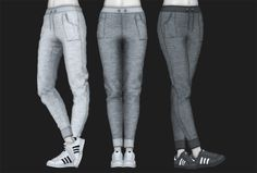 Requested by anon, and considered a good idea for a pairing, here is a new set of bottoms for female, teens and adults. These are my own conversions of loubelles joggerpants and semllers sneakers, made into one mesh. I did recolor the pants with higher quality texture, and all three colors go for both ages included. Unfortunately, no morphs. Otherwise, enjoy!downloadoriginals here and here.