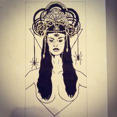 #tarot #empress #headdress #spiders #power #drawing #illustration