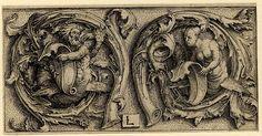 Lucas van Leyden. Tritón y sirena en el interior de dos zarcillos.