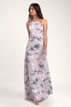 7b54c4afc02 The Lulus Antonella Dusty Lavender Floral Print Maxi Dress is a dream come