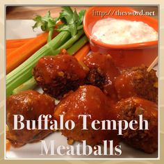 Buffalo Tempeh Meatballs and Super Bowl/Puppy Bowl Party Food