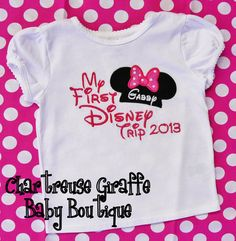Personalized My First Disney Trip Minnie Mouse Shirt. Disney Vacation Shirt via Etsy