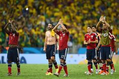 Colombia players acknowledge the fans after being defeated by Brazil 2-1 in the 2014 FIFA World Cup Brazil Quarter Final match between Brazil and Colombia at Castelao on July 4, 2014 in Fortaleza, Brazil.