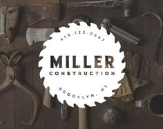 Masculine Logo Design. Masculine Logo. Hipster Manly Rugged Logo. Utilitarian Style . Saw Blade Builder Carpentry. Manly Branding by Jay Darcy for Rogue Logo.