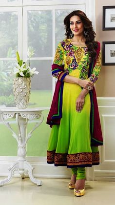 $80 Bipasa Basu in Green Bollywood Long Anarkali Salwar Kameez 24626