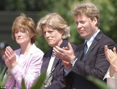Close family: The mother of the groom is the late Princess Diana's cousin, Lady Jane Fellowes (centre), pictured here with her sister Lady Sarah McCorquodale (left) and brother Earl Spencer in 2004.