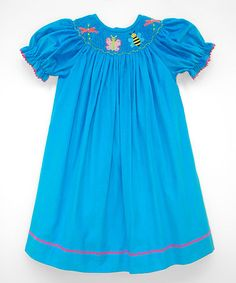 Blue Smocked Bugs Bishop Dress - Infant, Toddler & Girls #zulily #zulilyfinds