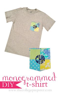 Monogrammed T-shirt--love this! ive been wanting a t-shirt with a pocket since i found the frat collection's t-shirts